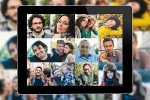 Many people portrait on a tablet screen